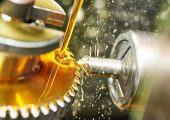 metalworking industry. tooth gear cogwheel machining by cutting mill tool.